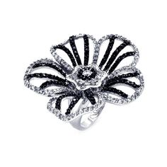 .925 Sterling Silver Rhodium Black Rhodium Plated 2 Toned Black  Clear Cubic Zirconia Flower Ring