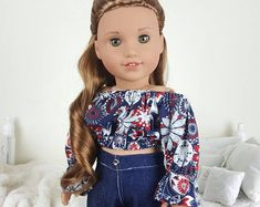 Your place to buy and sell all things handmade 18 inch doll peasant blouse and jeans floral crop top Ropa American Girl, American Girl Doll Room, Custom American Girl Dolls, American Girl Doll Pictures, American Girl Crafts, American Doll Clothes, Girl Doll Clothes, Barbie Clothes, Poupées Our Generation