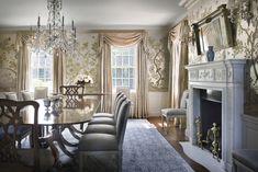 window treatments - Beautiful walls and fireplace - Lattingtown, New York - Ferguson & Shamamian