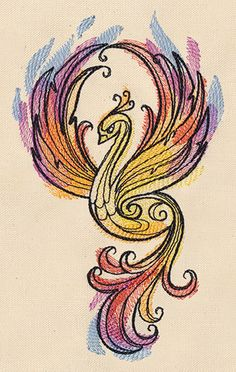 Watercolor Phoenix embroidered hand towels by MorningTempest, $19.00
