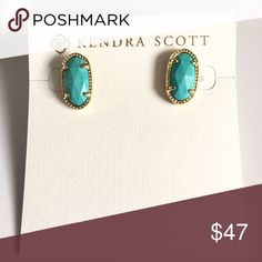 """Kendra Scott Ellie Oval Studs Turquoise stones and 14k gold plated frame. Post back Approx 0.30"""" diam Without the dust bag Kendra Scott Jewelry Earrings"""