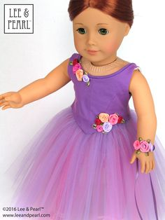 """Our American Girl doll dancer is ready for her debut in a just-like-the-real-thing Romantic tutu made of layers of pink and lavender tulle attached to a hidden basque and panty, and a perfectly-fitted detachable bodice with self-piped neck edge and waist-enhancing front point. Find Pattern 1072: Corps de Ballet for 18"""" Dolls in the Lee & Pearl Etsy store at https://www.etsy.com/listing/271513319/lp-1072-corps-de-ballet-fitted-bodice"""