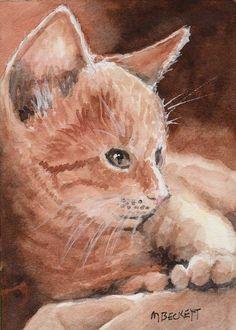 ACEO Original Ginger Kitten cats feline animals pets kitty orange cuddly #Impressionism