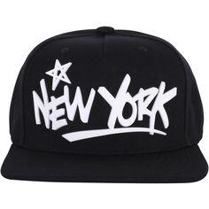 ililily Star New York Rubber Text New Era Style Snapback Hat Baseball... (23 CAD) ❤ liked on Polyvore