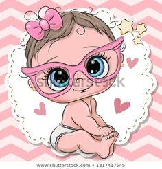 Cute Baby girl in pink eyeglasses. Cute cartoon Baby girl in pink eyeglasses with a bow stock illustration Cartoon Cartoon, Cute Cartoon Girl, Cartoon Drawings, Cute Drawings, Cute Baby Girl, Cute Babies, Baby Girl Drawing, Baby Painting, Pink Balloons