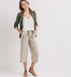 Pantalon court et large Femme taupe - Promod