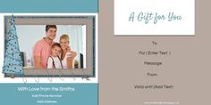 Free Christmas Gift Certificate Template - you can add a family photo before you print and its free! Christmas Gift Certificate Template, Certificate Design, Certificate Templates, Gift Certificates, Free Christmas Gifts, Free Christmas Printables, Staff Motivation, Customer Appreciation, Business Card Holders