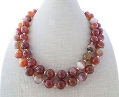 Orange agate necklace long necklace double strand by Sofiasbijoux
