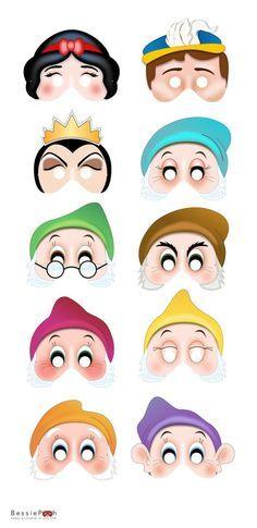 Printable SNOW WHITE masks. Instant download PDF file. Snow White, Seven Dwarfs, Prince Charming, Evil Queen via Etsy: