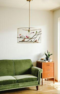 Cage à oiseaux cuivre pendentif lustre lumière par Kekoni sur Etsy