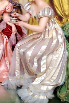 """midnight-summerx: """"'Afternoon Tea For Three' (detail) - Charles Joseph Frederic Soulacroix """" Renaissance Kunst, Renaissance Paintings, Classic Paintings, Classical Art, Detail Art, Mode Vintage, Old Art, Aesthetic Art, Fashion History"""