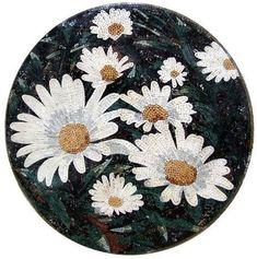 Ramo de margaritas blancas mosaico mármol