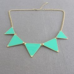SALE 5 triangle necklace/fashion/geometry necklace/bib necklace/gift for her birthday valentines day christmas/neo GREEN. $3.99, via Etsy.