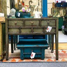 Grey Console Table c.1920 Shanghai China #nookdeco #furniture #interiordesign #asianart #restoredfurniture