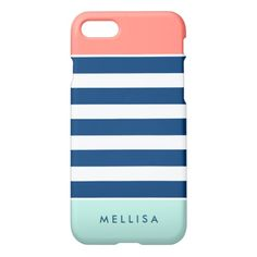 Modern Stylish Coral Mint Navy White Stripes iPhone 7 Plus Case Cool Iphone 7 Cases, Custom Iphone Cases, Cute Phone Cases, Iphone Phone Cases, Iphone 8, Coral, Turquoise, Mint And Navy, Cute Cases
