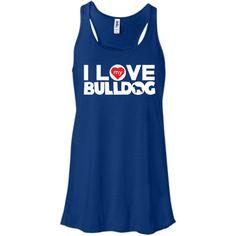 I Love My Bulldog - Bella+Canvas Flowy Racerback Tank