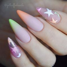 Stiletto nails have long been favored by fashionable women with their distinctive shapes. We have prepared the most popular stiletto nails ideas for you and enjoy its beauty on this beautiful holiday! Stiletto Nail Art, Cute Acrylic Nails, Cute Nails, Pretty Nails, Gel Nails, Funky Nails, Bright Nail Designs, Ombre Nail Designs, Acrylic Nail Designs