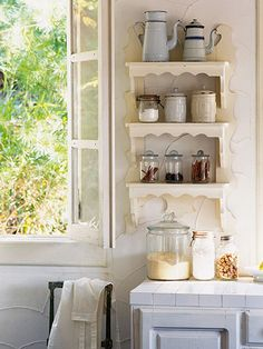 Place most-used items on the bottom shelves and less-used, more decorative items as you go higher up.