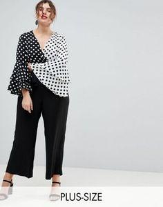 River Island Plus Spot Print Frill Sleeve Jumpsuit