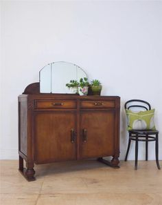40s Decorative Art Deco Mirror Sideboard Cupboard With Leather Handles