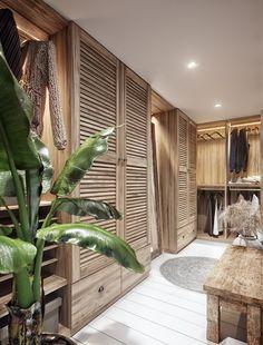 Villa tropical na Tailândia com base em um antigo sistema de arquitetura - Remodelación Cuarto - Bedroom Closet Design, Home Bedroom, Bedroom Decor, Bali Bedroom, Bedroom Wardrobe, Wardrobe Design, Tropical Master Bedroom, Small Wardrobe, Sliding Wardrobe