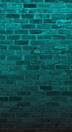 Aqua turquoise Teal green brick wall iphone wallpaper background phone lock screen