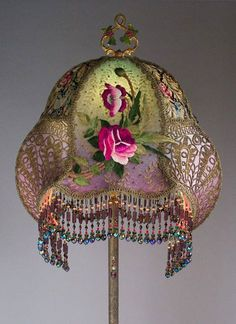 Art Nouveau Floor Lamp with Gold Metallic Lace and Antique Rose Embroidery by Nightshades Antique Lamps, Antique Roses, Victorian Floor Lamps, Vintage Lampshades, Lampe Decoration, Table Lamp Shades, Tiffany Lamps, Chandeliers, Antiques