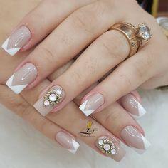 French Manicure Nails, Gel Nail Art Designs, Wedding Manicure, Luxury Nails, Nagel Gel, Toe Nails, Finger, Girly, Make Up