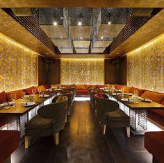 Qbara restaurant by Lasvit Glass Installation, Lounge Design, Beautiful Interiors, Lighting Design, Chandelier, Boutique Hotels, Dining, Interior Design, Restaurants