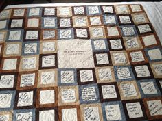 A guest book quilt is a wonderful way to keep memories of who was there...weddings, baby showers, a special anniversary, retirement parties, birthdays, graduation and so much more.  Capture those...