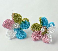 Crochet Earrings Crochet Flower Earrings Stud Hypoallergenic Pink Turquoise White Spring Green. $7.00, via Etsy.
