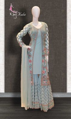 Salwar suits party wear - Buy Blue Georgette Designer Salwar Kameez (SKU Code online on best price at KhojKala Design Indian Gowns Dresses, Pakistani Bridal Dresses, Pakistani Dress Design, Party Wear Indian Dresses, Salwar Suits Party Wear, Designer Party Wear Dresses, Kurti Designs Party Wear, Gharara Designs, Indian Wedding Outfits