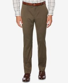 Perry Ellis Men's Classic-Fit Textured Pants - Brown 33x32