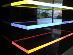 Edge Lit Acrylic Light Tape Shelves http://www.lighttape.co.uk ⊚ pinned by www.megwise.it #megwise #lightmyfire  http://www.justleds.co.za