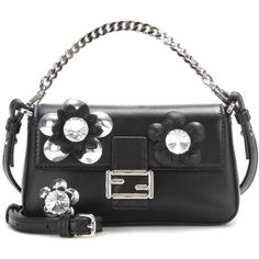 Fendi Micro Baguette Crystal-Embellished Leather Shoulder Bag (1546145 IQD) ❤ liked on Polyvore featuring bags, handbags, shoulder bags, black, totes, shoulder tote bags, genuine leather tote, fendi tote, leather tote purse and fendi tote bag