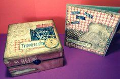 Scrapbooking: tarjeta y caja de madera alterada.