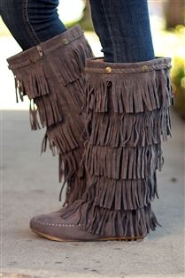 Studded Fringe Boots in Gray