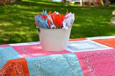 Dollar Store Crafts » Blog Archive » Make a Bandanna Tablecloth