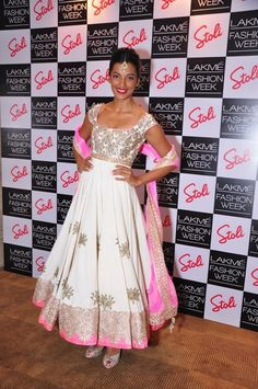 Mugdha Godse at the Stoli Lounge at Lakme Fashion Week day four Indian Suits, Indian Attire, Indian Dresses, Indian Wear, Women's Dresses, Indian Bridal Fashion, Indian Wedding Outfits, Bridal Outfits, Anarkali Dress