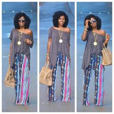 Loving her hair and style!!  italia92:    Tribal Print Wide-Leg Pants  with Oversize Boho Blouse