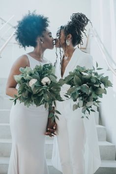 Stephanie and Javoni's Feel-Good Wedding Vibes Are Contagious Cute Lesbian Couples, Lesbian Love, Muslim Couples, Lesbian Wedding, Wedding Couples, Bridal Pictures, Wedding Photos, Black Lesbians, Two Brides