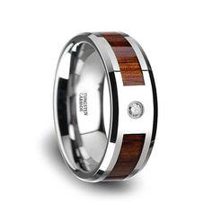 Diamant Ehering Koa Holz-Wolfram-Ring Silber und Holz