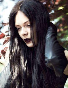purple lips, leather jacket