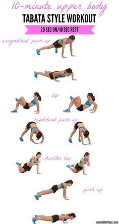 Work your arms, back and chest in just minutes with this Upper Body Tabata workout. No equipment needed! Make this workout 10 min, do 20 on 10 off until you reach 10 min. body workout at home no weights Fitness Workouts, Full Body Workouts, Arm Workouts At Home, Training Fitness, Body Workout At Home, Tabata Workouts, Yoga Fitness, Fitness Plan, Arms And Back Workout At Home