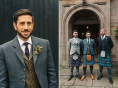 Groom wears a bespoke tailored suit with plain kilt   Images by http://photosbyzoe.co.uk/
