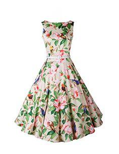 Babyonline Vintage Audrey Hepburn del 1950 stile floreale rockabilly Picnic  Party Prom Dress Green XX-Large  Amazon.it  Abbigliamento eb08765f65d