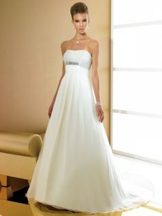 Chiffon Strapless Empire Waist Pleated Bodice A-line Wedding Dress