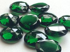 5 Pcs Green Hydro Quartz Rose Cut Cabochons Hear by gemsforjewels