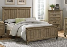 Homelegance Sylvania Panel Bed In Oak Veneered Driftwood - Queen King Bedroom Sets, Small Room Bedroom, Room Decor Bedroom, Bedroom Ideas, Modern Bedroom Furniture, Furniture Design, Pallet Furniture, Bed Frame Design, Wardrobe Design Bedroom