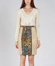 Look at this #zulilyfind! Dark Violet & Beige Floral Lace Pencil Skirt #zulilyfinds